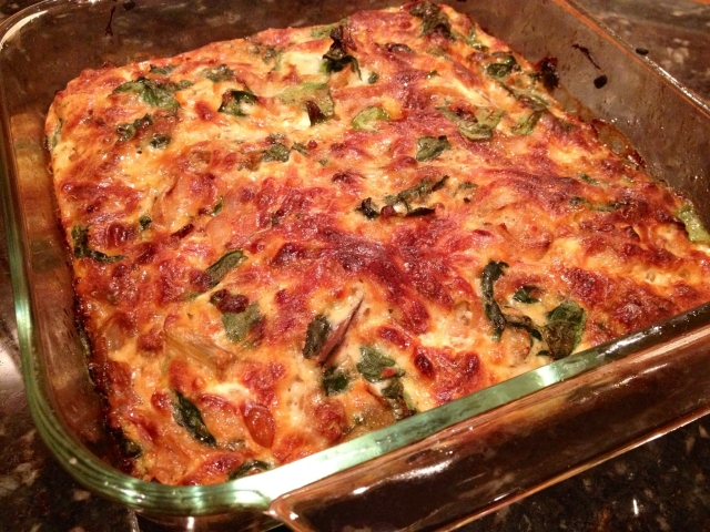 Caramelized Onion and Rainbow Chard Frittata