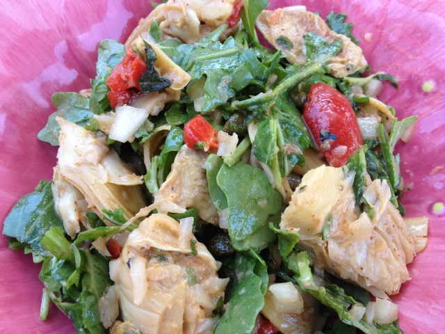 Roasted Artichoke Arugula Salad