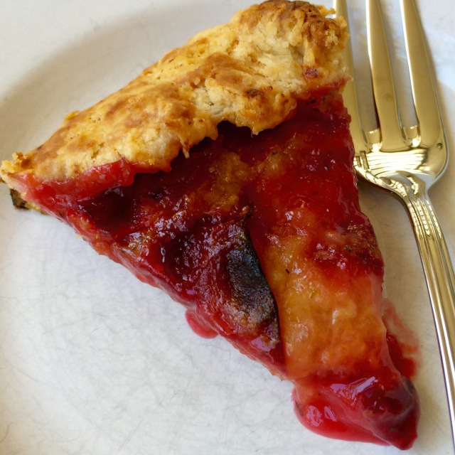 Slice of plum galette